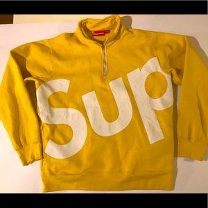 SUPREME L/G Quarter zip canary yellow sweatshirt